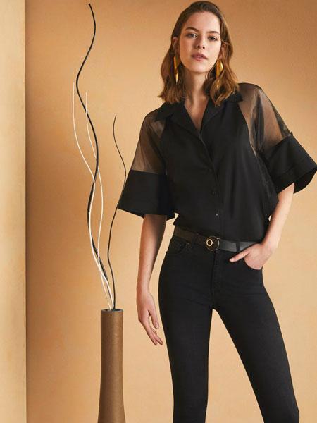 Sarar女装品牌2019春夏新款时尚优雅名媛透明性感修身显瘦大灯笼袖上衣