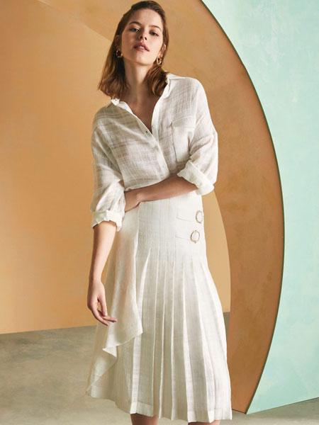 Sarar女装品牌2019春夏新款森系法式复古山本过膝气质连衣裙
