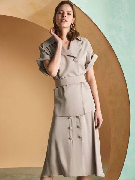 Sarar女装品牌2019春夏新款韩版拼接两件套系带连衣裙