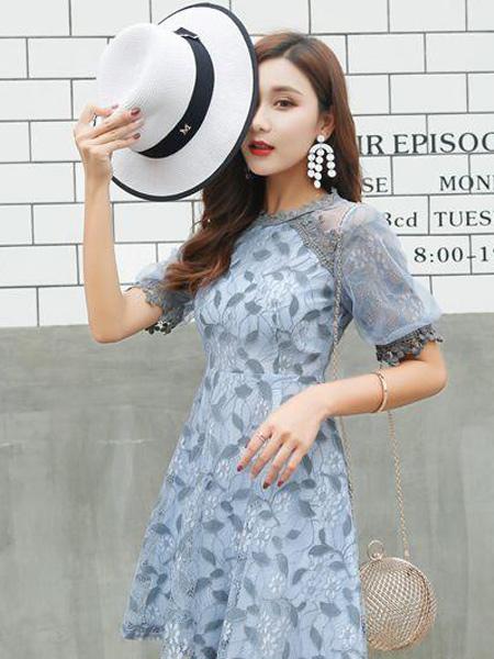 优主义女装品牌2019春夏新款气质名媛复古蕾丝中长裙修身显瘦a字连衣裙