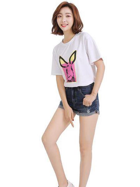 优主义女装品牌2019春夏新款韩版百搭印花圆领短袖T恤