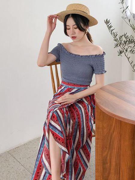 优主义女装品牌2019春夏新款套装一字肩复古套装裙很仙洋气女神范两件套