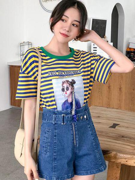 优主义女装品牌2019春夏新款韩版不规则条纹短袖T恤