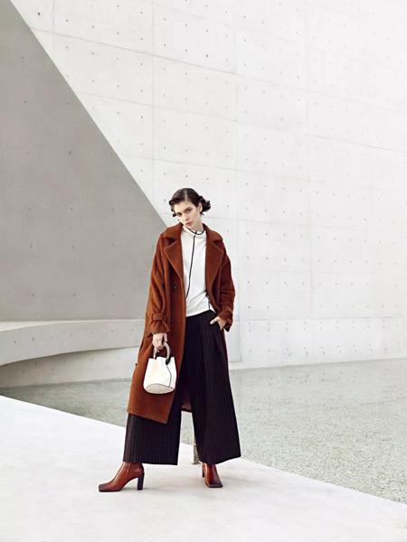 必然女装品牌2019秋季新款韩版纯色中长款双排扣翻领外套