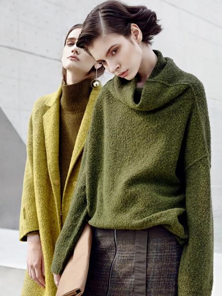 必然女装品牌2019秋季新款韩版纯色宽松毛衣加绒加厚高领打底针织衫
