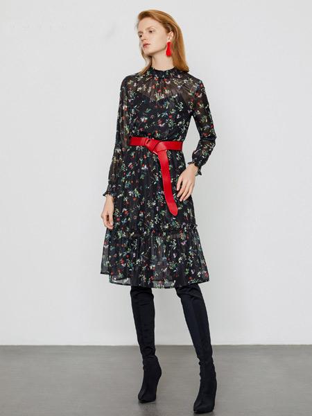 DZEC女装品牌2019秋季新款韩版修身蕾丝拼接印花雪纺连衣裙中长款百褶碎花打底衫裙