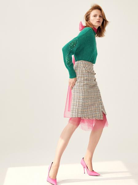 DZEC女装品牌2019秋季新款高腰显瘦格子半身裙