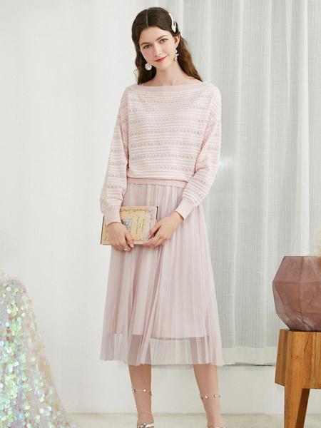 春美多女装品牌2019秋季新款针织衫镂空长袖网纱两件套装连衣裙
