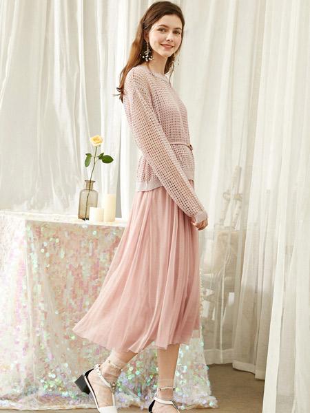 春美多女装品牌2019秋季新款流行裙子仙女超仙森系法式桔梗裙针织两件套网纱裙