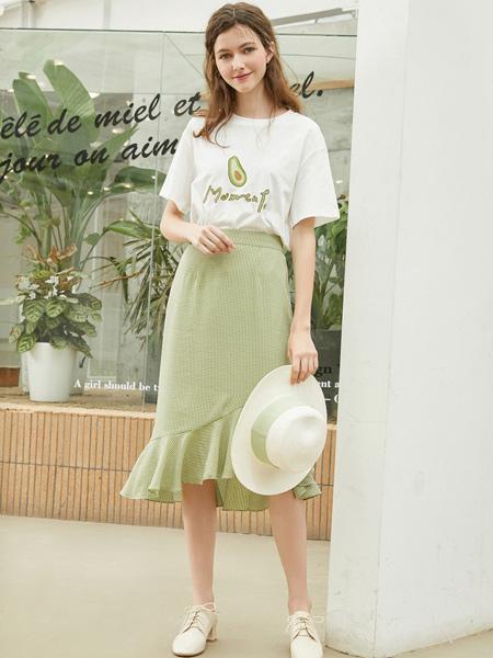 春美多女装品牌2019秋季新款高腰包臀格子不规则荷叶边半身裙两件套
