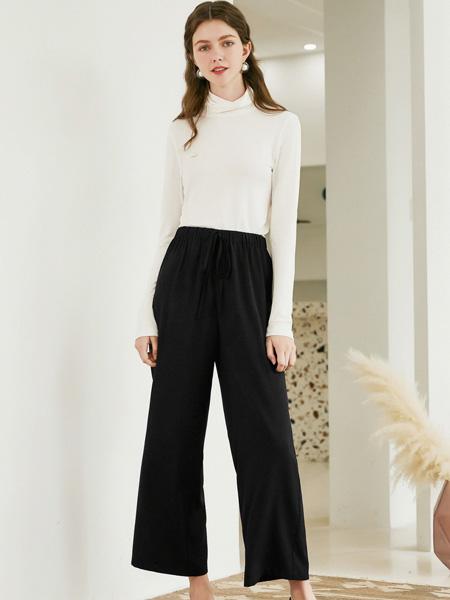 春美多女装品牌2019秋季新款气质纯色绑带通勤舒适休闲裤