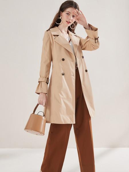 春美多女装品牌2019秋季新款显瘦薄外套杏色双排扣风衣