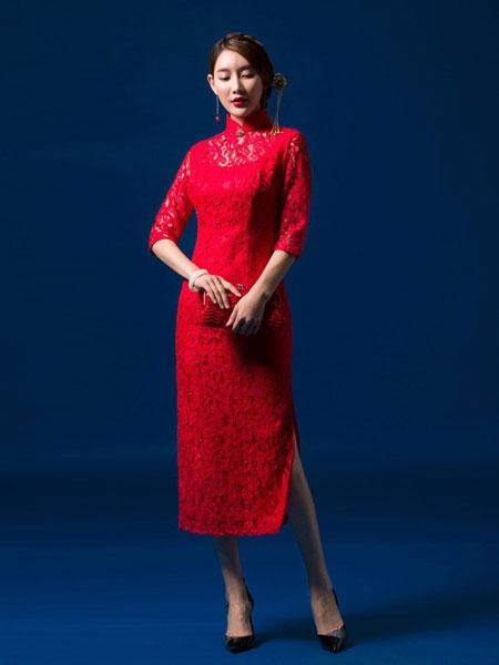 凤禧女装品牌2019春夏新款中袖改良旗袍蕾丝七分袖旗袍裙