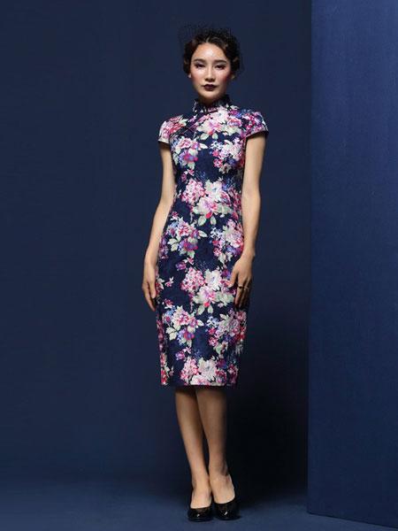 凤禧女装品牌2019春夏新款短袖优雅改良印花修身中式高端礼服