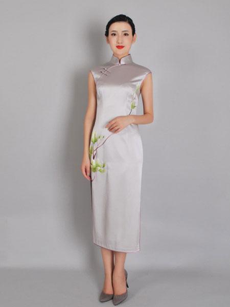 凤禧女装品牌2019春夏新款优雅改良中国风刺绣连衣裙