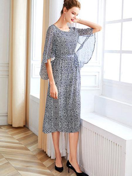 萨拉迪恩女装品牌2019春夏新款收腰系带中长款桑蚕丝高端复古碎花真丝连衣裙