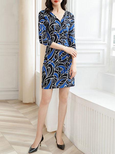 萨拉迪恩女装品牌2019春夏新款几何印花七分袖交叉V领修身连衣裙气质中裙