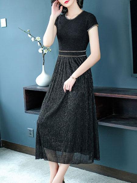 萨拉迪恩女装品牌2019春夏新款高贵气质短袖亮丝拼接大摆长裙