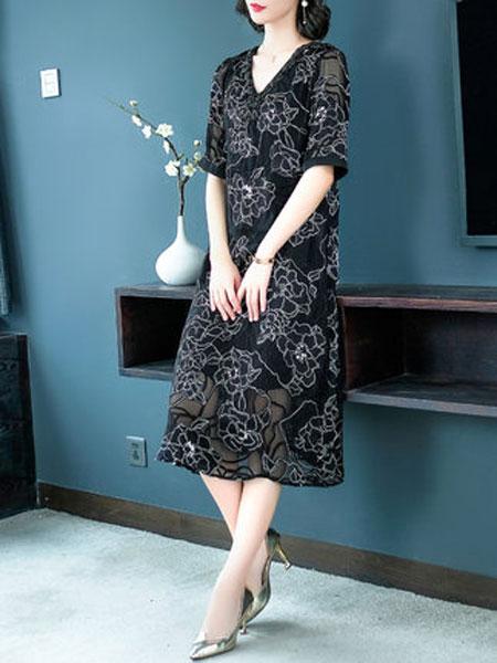 萨拉迪恩女装品牌2019春夏新款高端大牌气质V领绣花桑蚕丝宽松