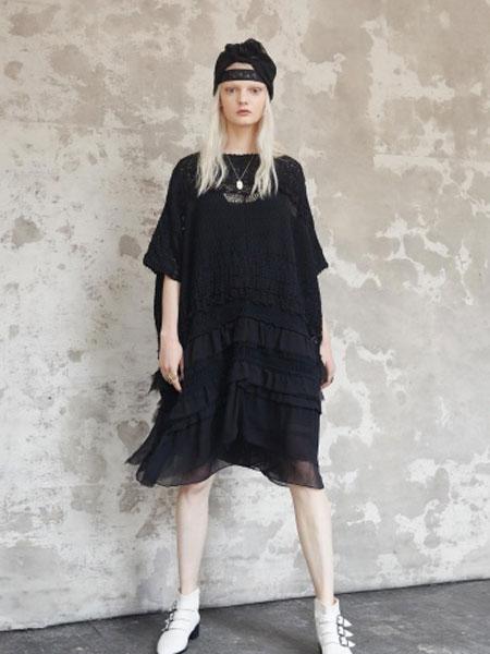 Gary Graham加里·格雷厄姆女装品牌2019春夏新款韩版短袖宽松连衣裙