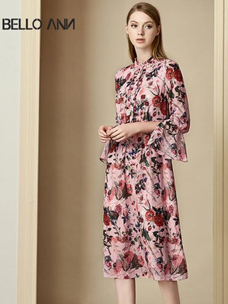 贝洛安女装品牌2019秋季新款印花中长款衬衫式喇叭袖长袖连衣裙