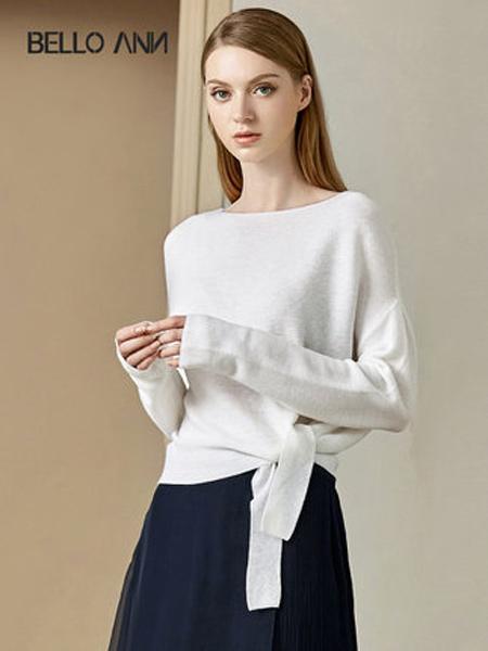 贝洛安女装品牌2019秋季新款OL通勤白色系带宽松蝙蝠袖一字领长袖针织衫