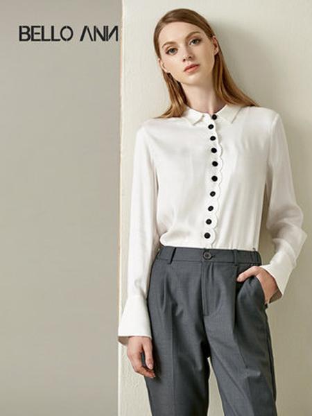 贝洛安女装品牌2019秋季新款OL通勤喇叭袖单排扣白色职业长袖衬衫