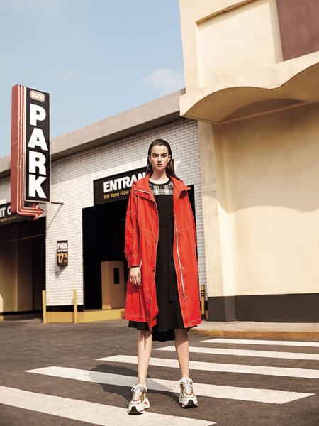 卡尼欧女装品牌2019秋季新款韩版长袖纯色收腰系带中长款风衣外套