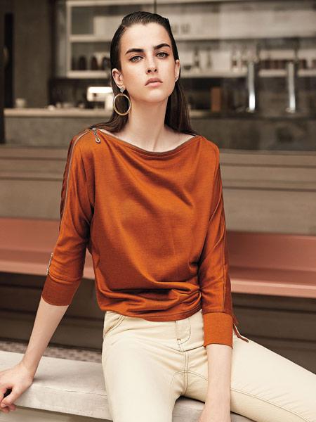 卡尼欧女装品牌2019秋季新款纯色气质套头宽松针织衫