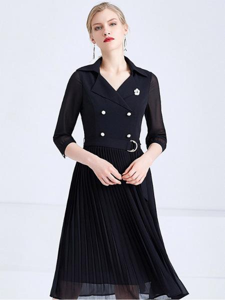 经典故事女装品牌2019秋季新款西装连衣裙七分袖气质收腰显瘦百褶裙子