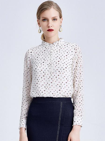 经典故事女装品牌2019秋季新款长袖衬衫雪纺印花通勤优雅显瘦荷叶领