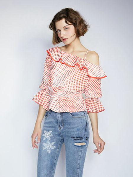 CAGZL(卡姿)女装品牌2019春夏韩版气质喇叭袖吊带衬衣
