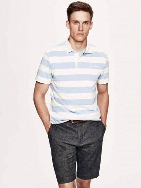 Hackett London男装品牌2019春夏时尚休闲宽松条纹翻领短袖T恤