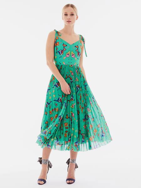Novis女装品牌2019春夏新款复古优雅绿色花卉印花 腰封百褶中长裙