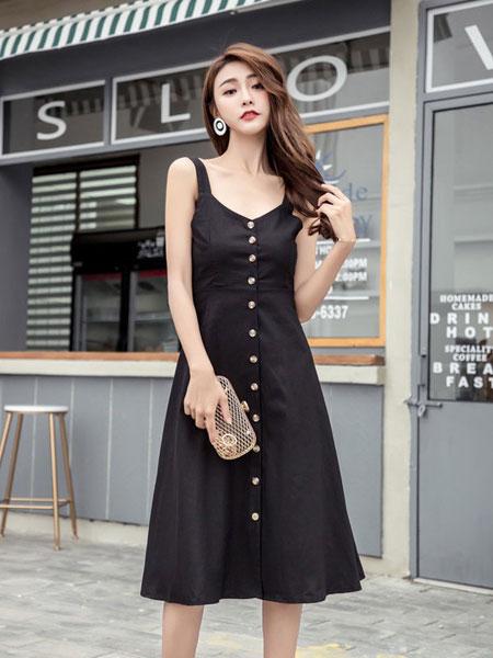 欧萝芭女装品牌2019春夏新款 收腰显瘦露肩气质法式复古裙
