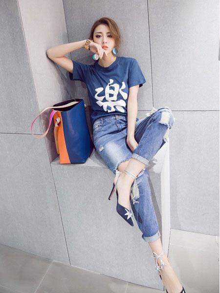 欧萝芭女装品牌2019春夏新款百搭文字印花T恤短袖