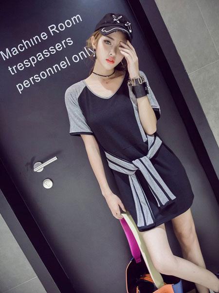 欧萝芭女装品牌2019春夏新款时尚收腰显瘦气质雪纺连衣裙