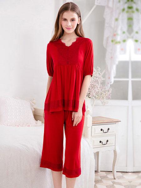 古格内衣品牌2019春夏新款性感蕾丝V领睡衣薄款短袖红色两件套