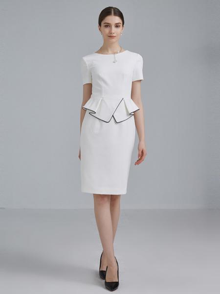 衣邦人休闲品牌2019春夏新款短袖气质时尚职业套装裙