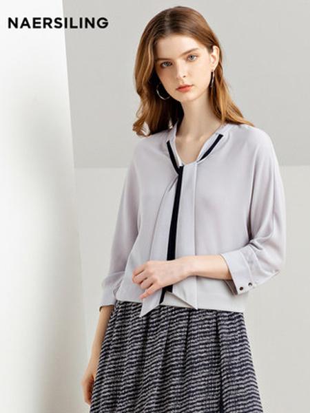 NAERSILING女装品牌2019秋冬新款宽松时尚上衣灰色长袖飘带套头衫