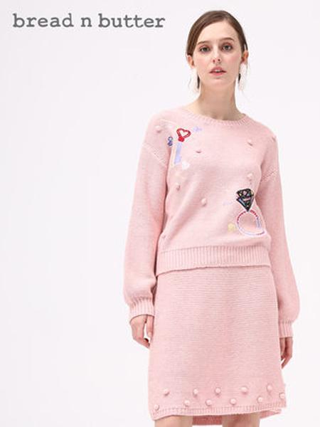 Bread n Butter面包黄油女装品牌2019秋季新款绣线图案毛衣宽松针织衫