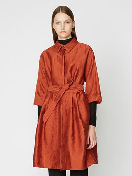 宝姿1961女装品牌2019秋季新款中袖束腰大摆长风衣