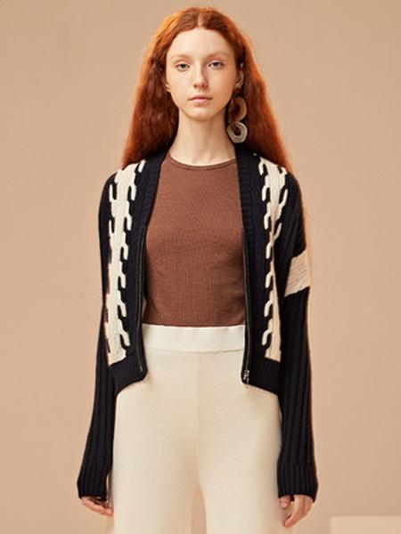 ZENE女装品牌2019秋季新款蝙蝠袖开衫毛衣加厚V领慵懒风外套