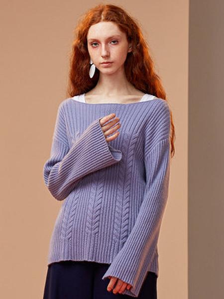 ZENE女装品牌2019秋季新款一字领毛衣长袖加厚宽松套头上衣