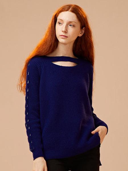ZENE女装品牌2019秋季新款长袖镂空毛衣针织打底衫套头