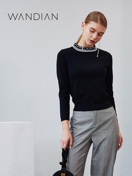 婉甸女装品牌2019秋季新款领口木耳边长袖上衣黑色毛织套头衫