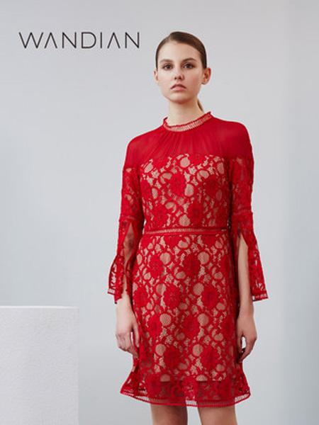 婉甸女装品牌2019秋季新款淑女高腰气质红色长袖蕾丝连衣裙