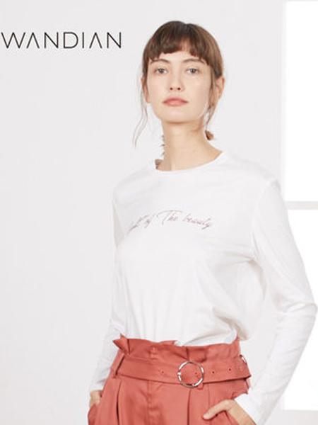婉甸女装品牌2019秋季新款百搭圆领字母印花上衣白色简约长袖T恤
