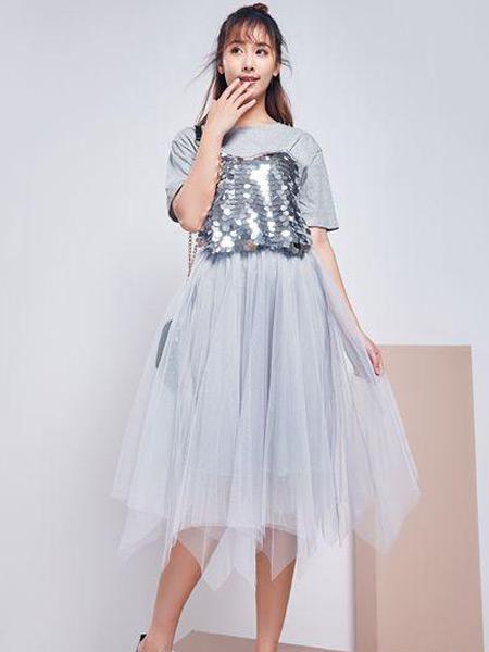 古米娜女装品牌2019春夏新款时尚超洋气套装裙矮个子淑女两件套短袖连衣纱裙