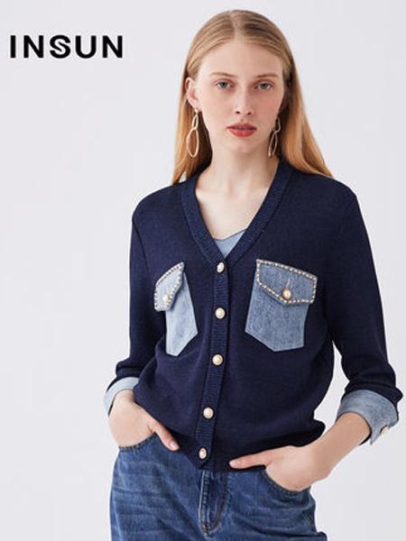 恩裳女装品牌2019秋季新款v领七分袖拼接撞色口袋修饰短款针织开衫
